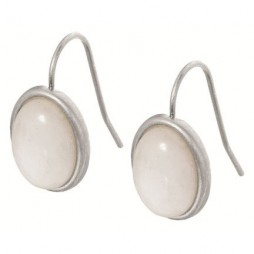 Sence Copenhagen Signature Earrings White Jade Worn Silver