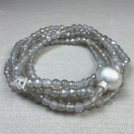 Sence Copenhagen Grey Agate Worn Silver Savannah Bracelet