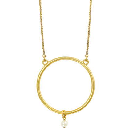 Sence Copenhagen Gold Plated Long Sphere Necklace with Pearl
