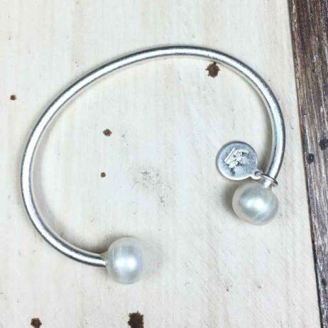 Sence Copenhagen Pearl Bangle Worn Silver