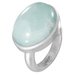 Sence Copenhagen Aquamarine Adjustable Worn Silver Ring