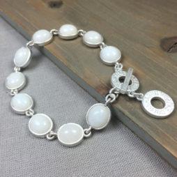 Sence Copenhagen Destiny Bracelet White Agate Worn Silver