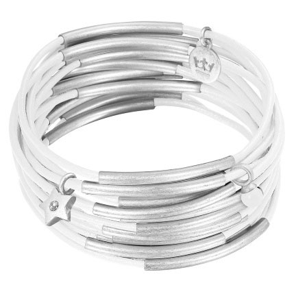 Sence Copenhagen Silver with White Leather Urban Gipsy Bracelet