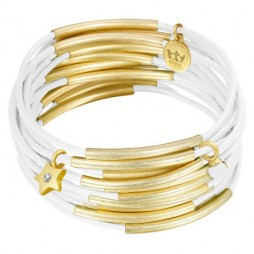 Sence Copenhagen Gold with White Leather Urban Gipsy Bracelet