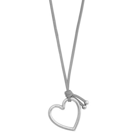 Sence Copenhagen Grey Leather Necklace with Silver Heart Pendant