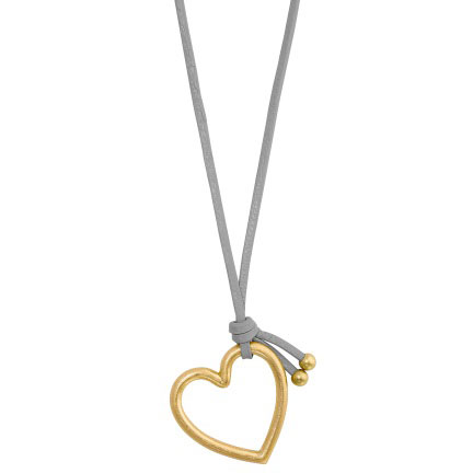 Sence Copenhagen Grey Leather Necklace with Gold Heart Pendant