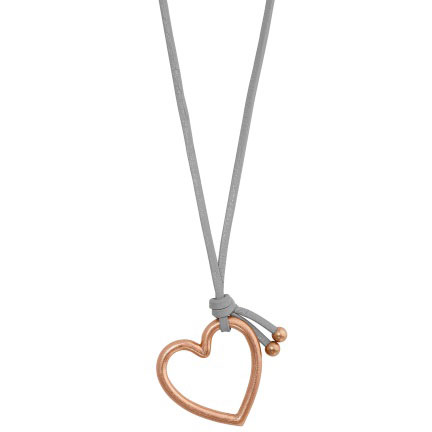 Sence Copenhagen Grey Leather Necklace with Rose Gold Heart Pendant