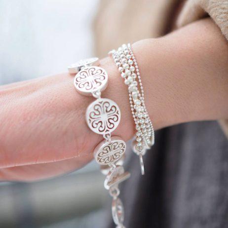 Sence Copenhagen Worn Silver Hippie Bracelet and Necklace
