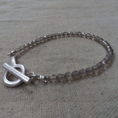 Sence Copenhagen Grey Agate Worn Silver Bracelet