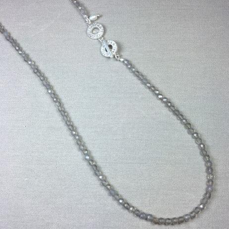 Sence Copenhagen Long Grey Agate Worn Silver Savannah Necklace