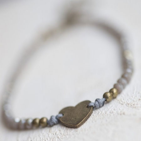 Tutti and Co Jewellery Grey Bracelet with Gold Heart Charm