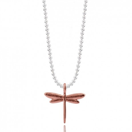 Joma Jewellery Silver Rose Gold Flutterby Dragonfly Necklace 1582