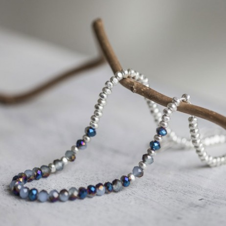 Tutti and Co Long Necklace With Silver and Blue Glass Beads