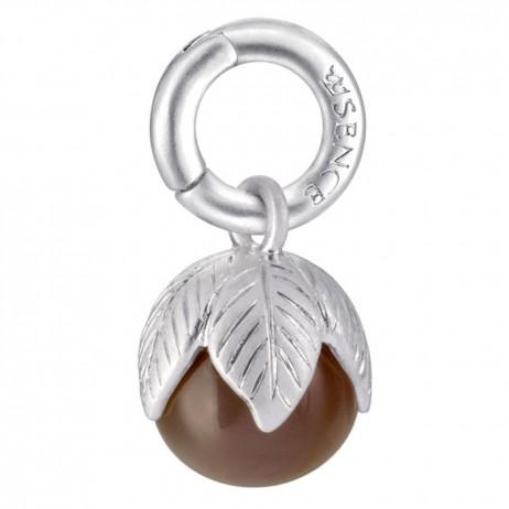 Sence Copenhagen Grey Agate Ball Charm Silver Pendant