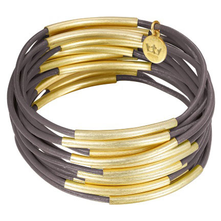 Sence Copenhagen Gold with Dark Grey Leather Urban Gipsy Bracelet