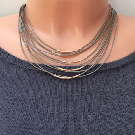 Hot Tomato Jewellery Rose Gold Taupe Ripple Leather Necklace