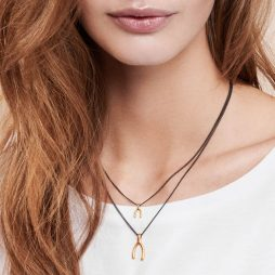 Hultquist Jewellery Hematite and Gold Wishbone Necklace