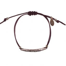 Hultquist Jewellery Rose Gold Sea Pod Macrame Brown Cotton Cord Bracelet