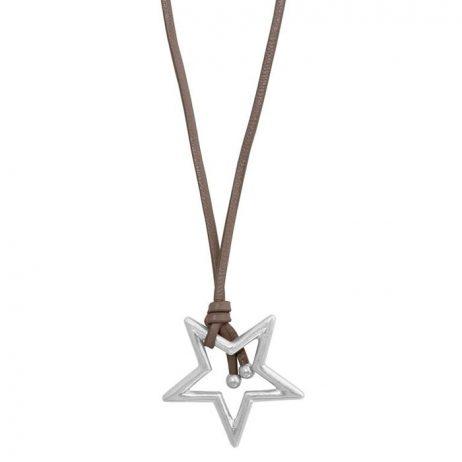 Sence Copenhagen Silver Star Pendant Taupe Leather Necklace