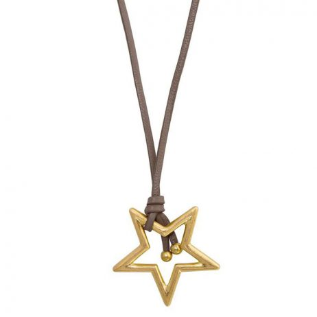 Sence Copenhagen Gold Star Pendant Taupe Leather Necklace