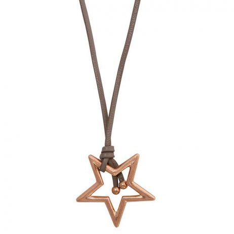 Sence Copenhagen Rose Gold Star Pendant Taupe Leather Necklace