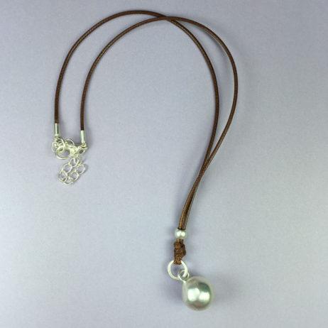 Hot Tomato Silver Sphere Coffee Cord Necklace