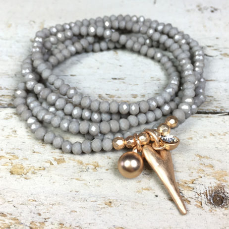 Hot Tomato Jewellery Grey Rose Gold Heart Bracelet and Necklace