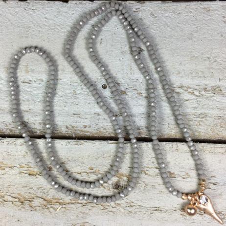 Hot Tomato Jewellery Grey Rose Gold Heart Bracelet and Necklace