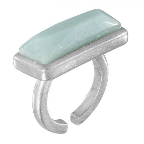 Sence Copenhagen Amazonite Worn Silver Adjustable Ring