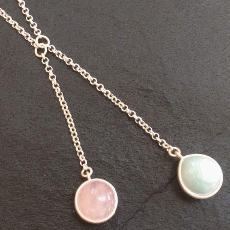 SENCE Copenhagen Rosequartz Aqua Silver Necklace