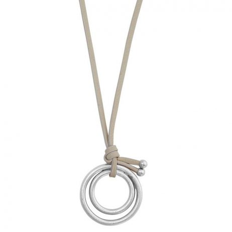 Sence Copenhagen Silver Disc Pendant Cream Leather Necklace