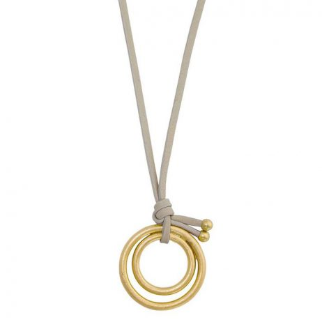 Sence Copenhagen Gold Disc Pendant Cream Leather Necklace