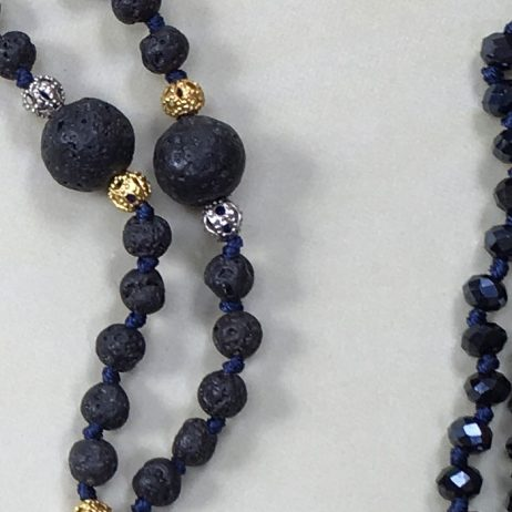 Tribe + Fable Midnight Blue Gold Tassel Necklace