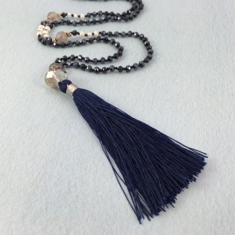 Tribe + Fable Midnight Blue Mesosphere Tassel Necklace