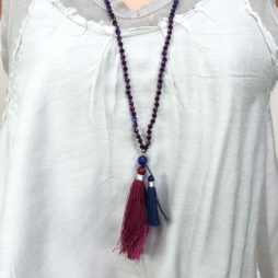 Tribe + Fable Burgundy Blue Tassel Necklace