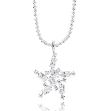 Joma Jewellery Crystal Stardust Silver Necklace 1856. eol