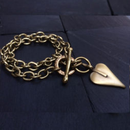 Danon Jewellery Double Chain Bracelet With Heart Bronze