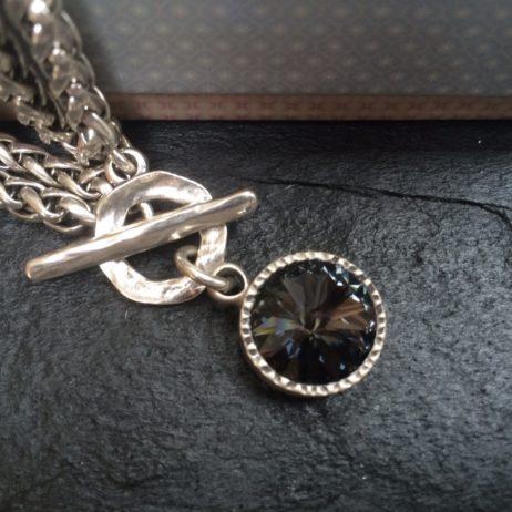 Danon Jewellery Double Chain Bracelet with Black Crystal