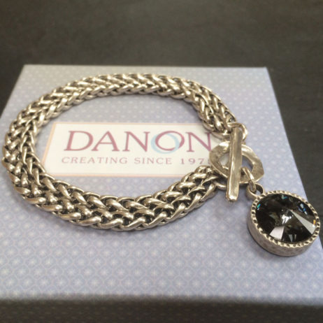 Danon Jewellery Double Chain Bracelet with Black Crystal