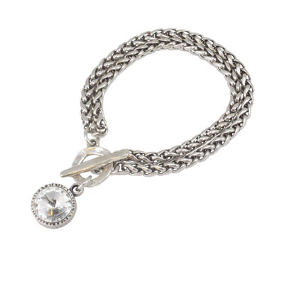 Danon Jewellery Double Chain Bracelet with Clear Crystal