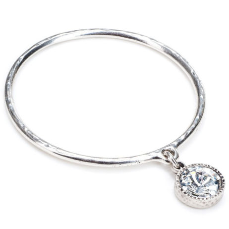 Danon Jewellery Clear Crystal Silver Drop Bangle