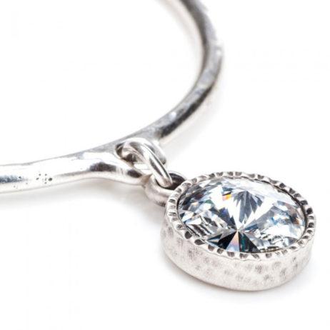 Danon Jewellery Clear Crystal Silver Drop Bangle
