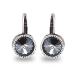 Danon Jewellery Black Crystal Silver Drop Earrings