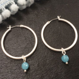 SENCE Copenhagen Aquamarine Silver Hoop Earrings