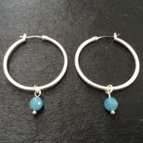 SENCE Copenhagen Aquamarine Silver Hoop Earrings