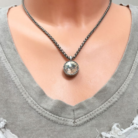 Danon Jewellery Clear Crystal Rope Silver Necklace