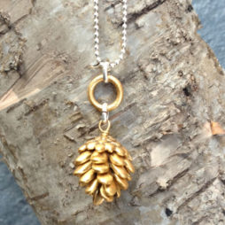 Hultquist Jewellery Silver and Gold Fir Cone Short Necklace