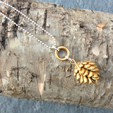 Hultquist Jewellery Silver and Gold Fir Cone Short Necklace - EOL