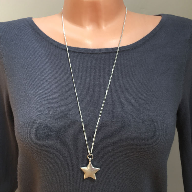 Hultquist Jewellery Long Silver Star Pendant Necklace ...