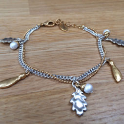 Hultquist Jewellery Double Chain Bi Colour Oak Leaf Bracelet